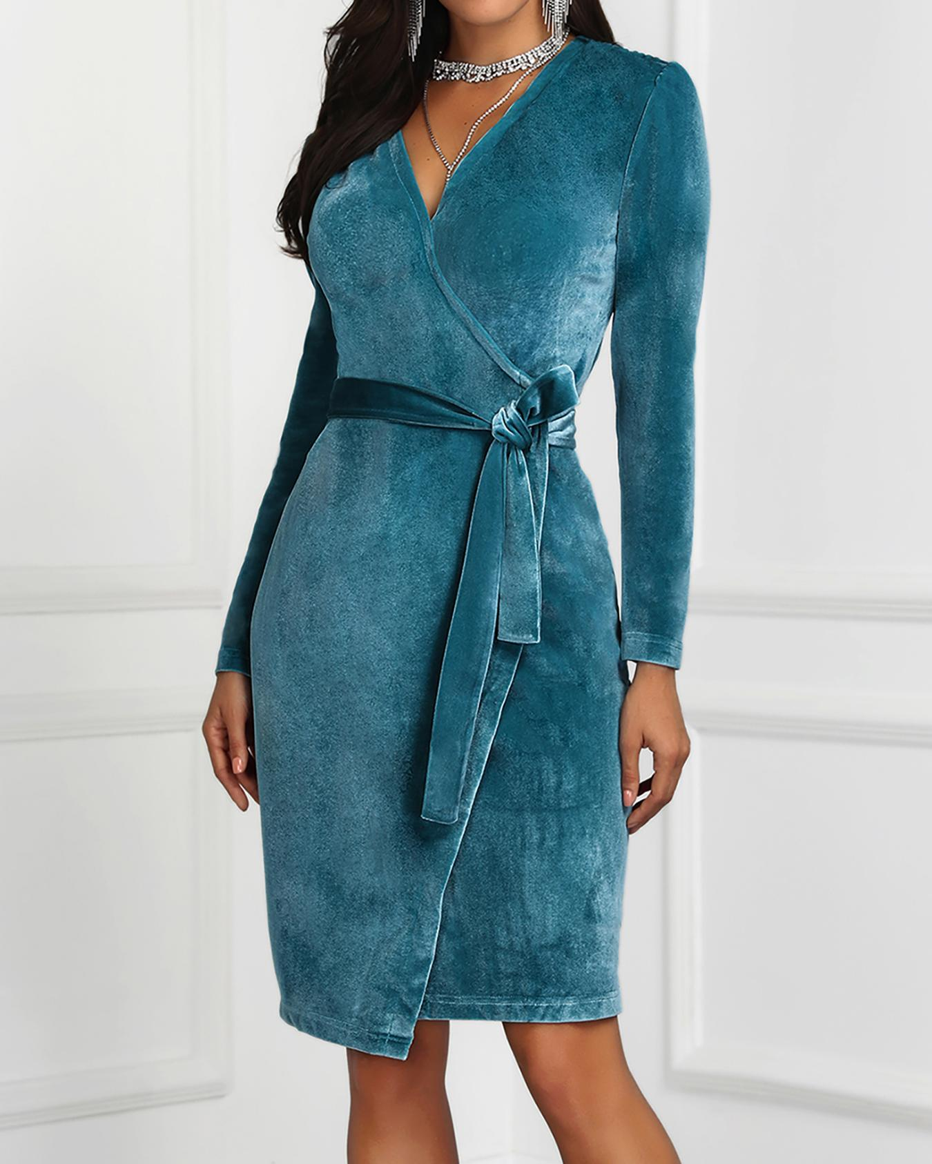 V-Neck Surplice wrap Belted Velvet Dress