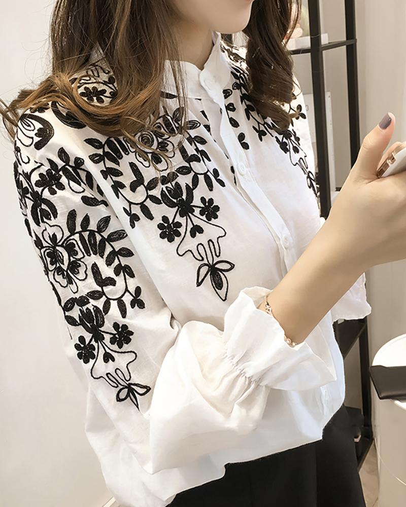 Flower Embroidery Stand Neck Long Sleeve Shirt фото