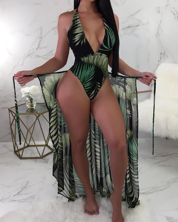 Leaf Print One Piece Swimwear With Cover Up