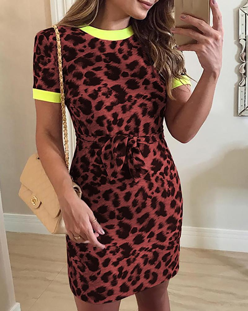 ivrose / Short Sleeve Leopard Print Knot Waist Dress