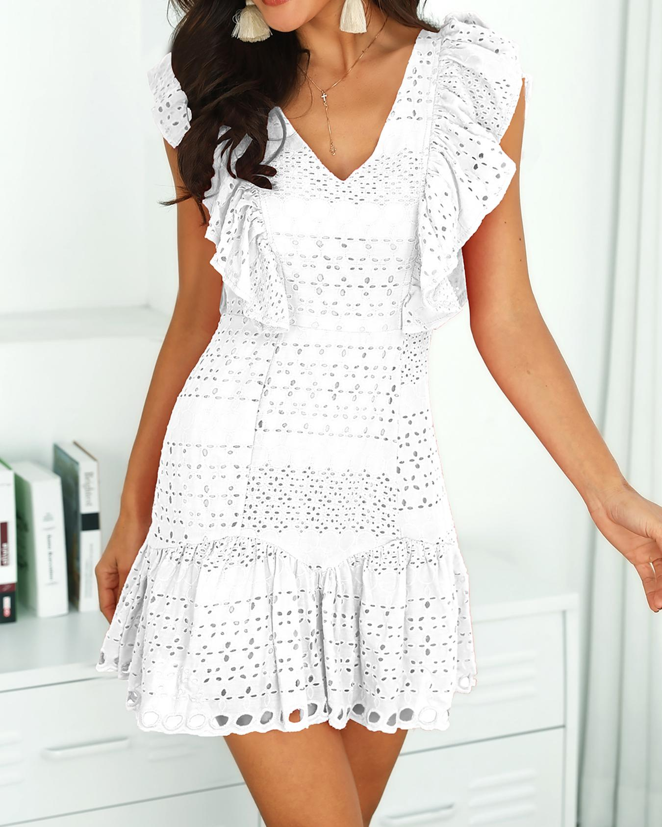 Hollow Out Trim Ruffles Solid Mini Dress
