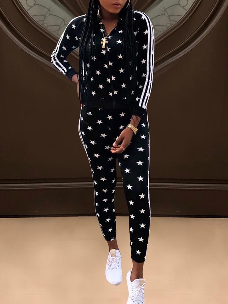 Star Pattern Side Stripes Long Sleeve Tracksuit фото