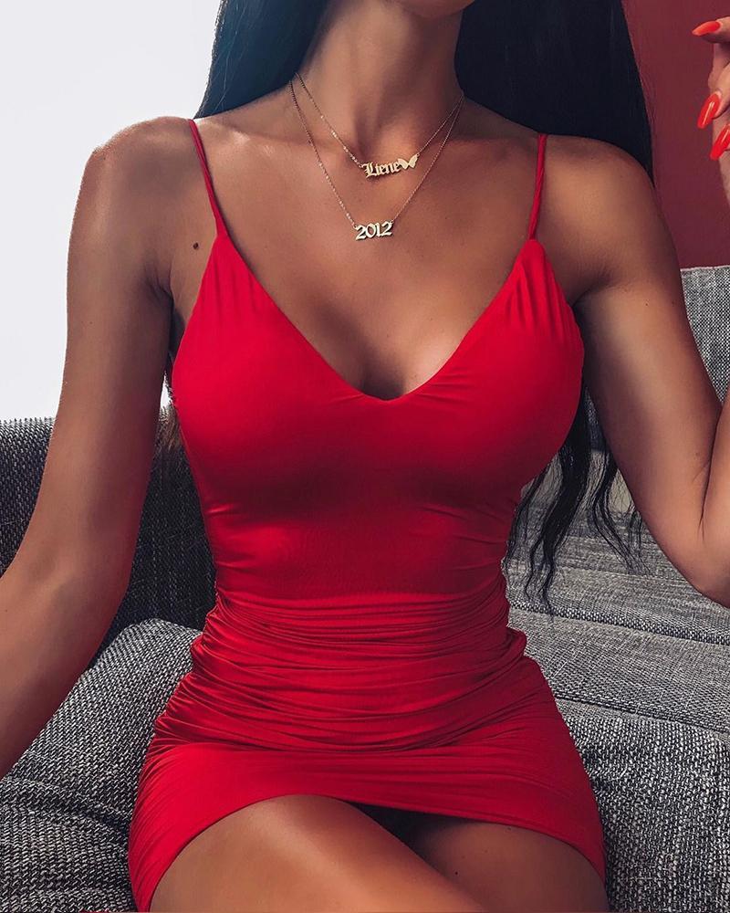 chicme / Scoop pescoço vermelho Bodycon vestido
