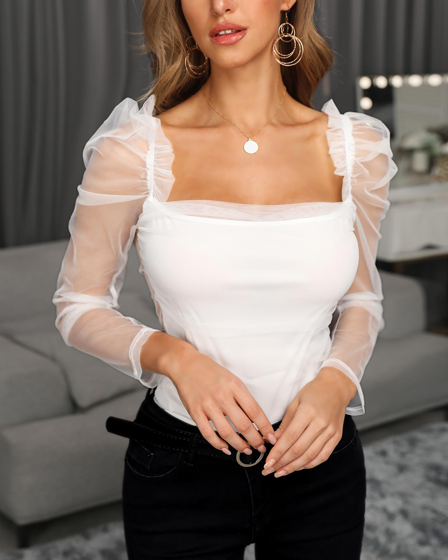 Square Neck Mesh Sleeve Top фото