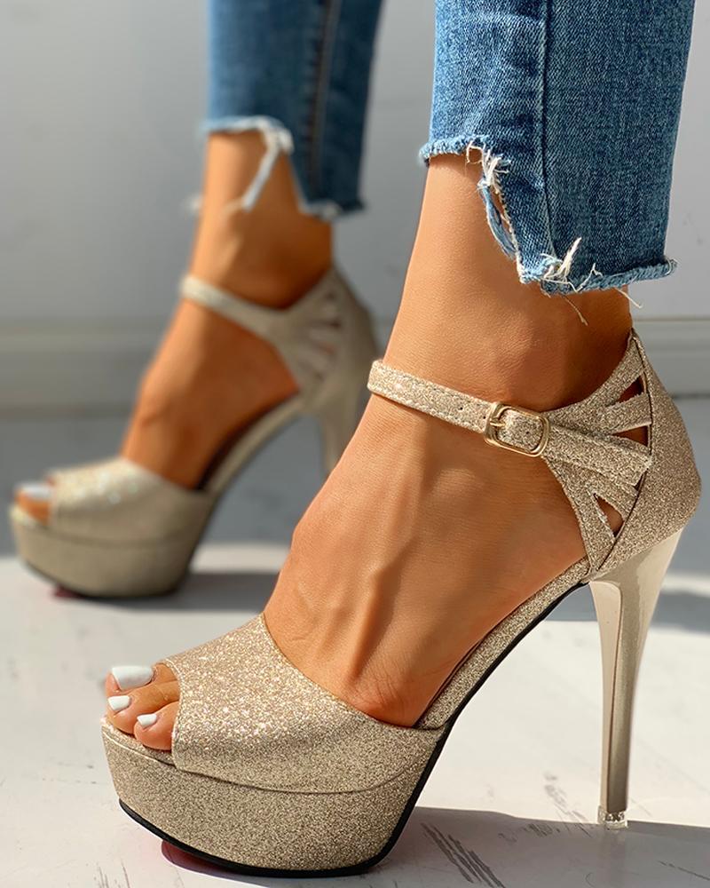Glitter Platform Thin Heeled Sandals, Gold