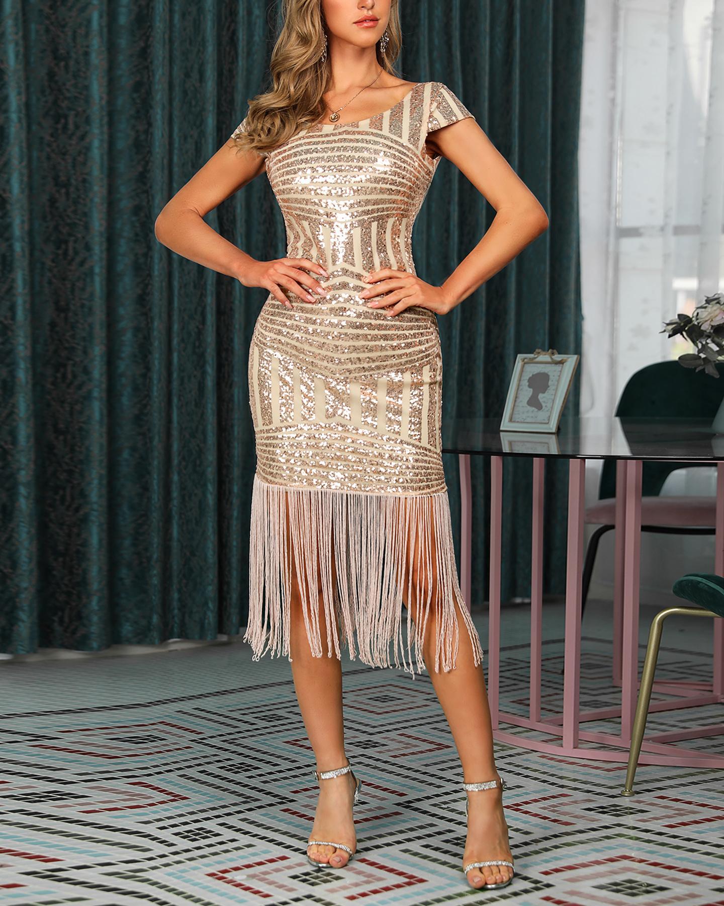 boutiquefeel / Lantejoulas Glitter Tassel Vestido de Festa