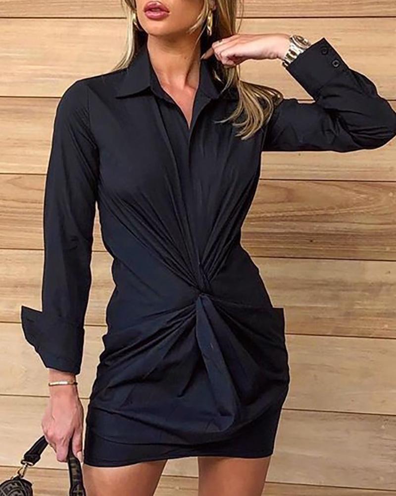 Ruched Twist Tight waist Shirt Dress фото