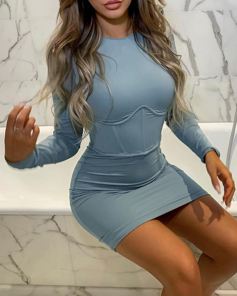 ivrose / Vestido ajustado de manga larga con cuello redondo liso