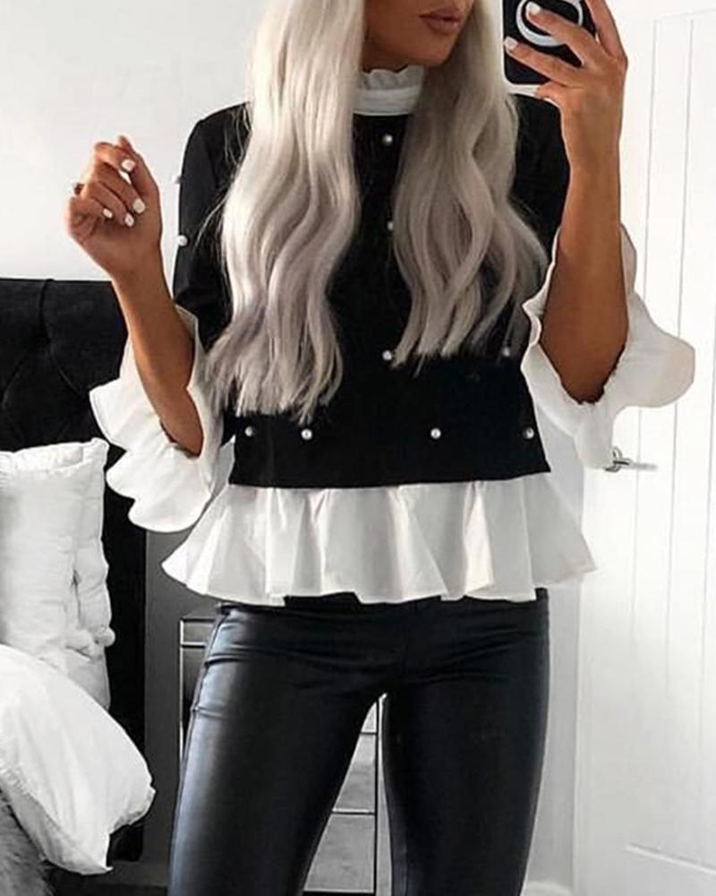 Contrast Ruffle Trim Statement Top фото