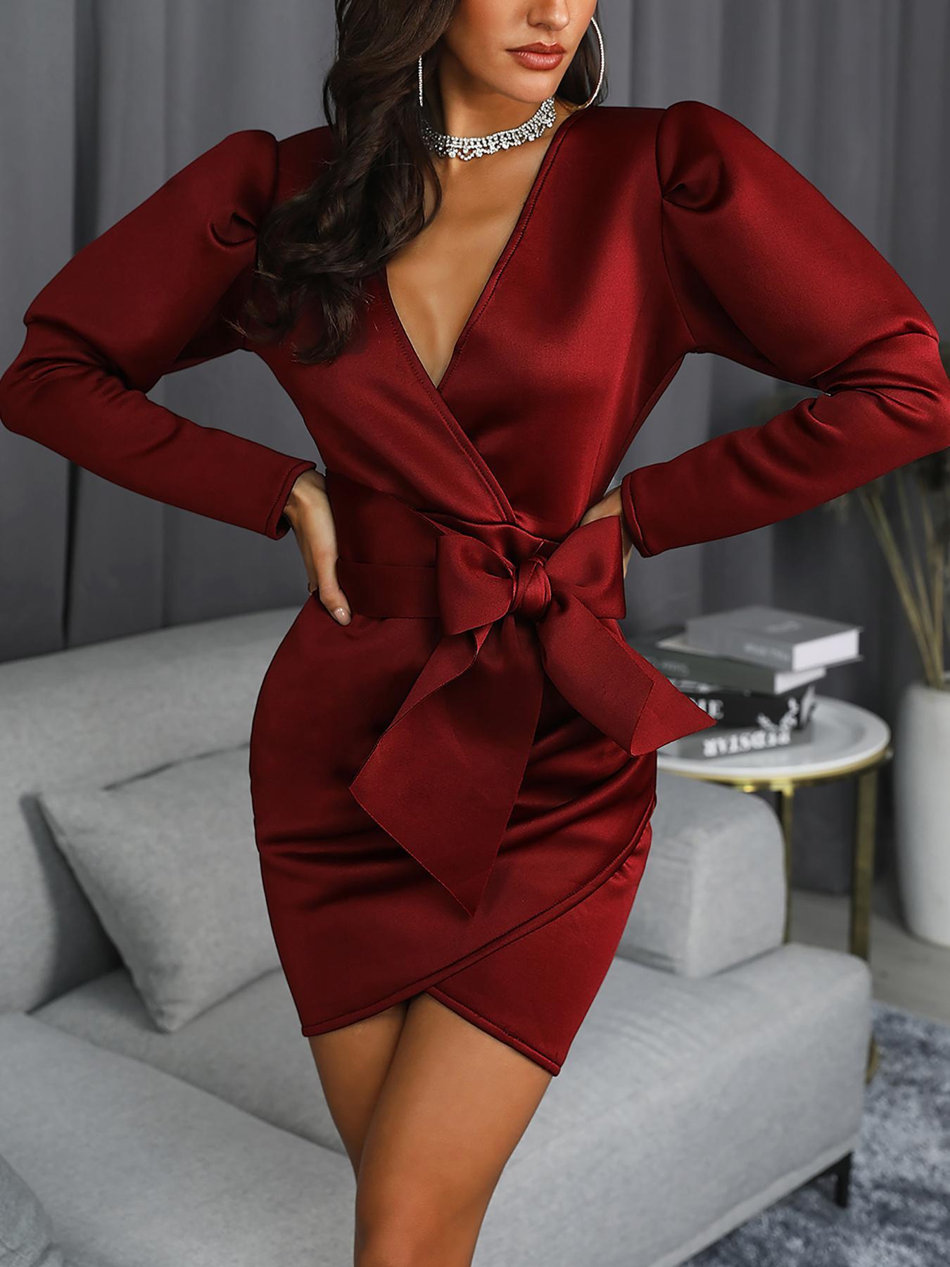 Surplice Wrap Bowknot Lantern Sleeve Dress