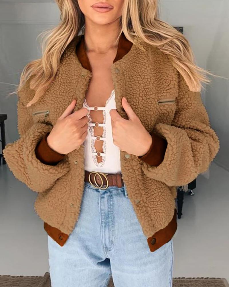 Solid Pocket Design Fluffy Teddy coat фото