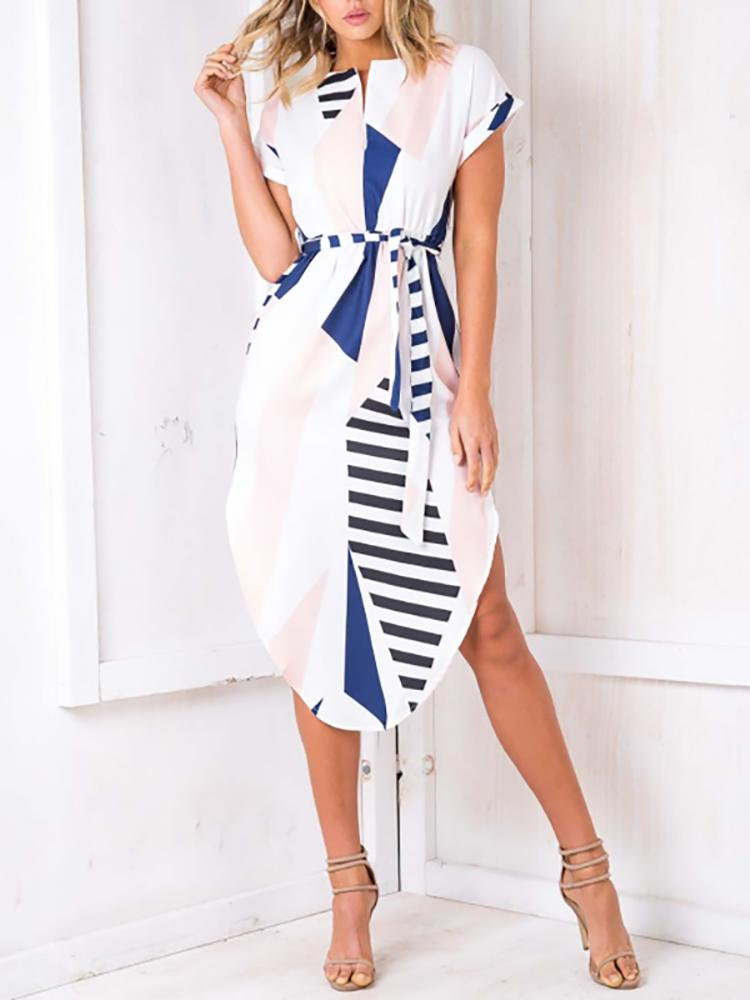 Color Block Stripes Tied Waist Midi Dress