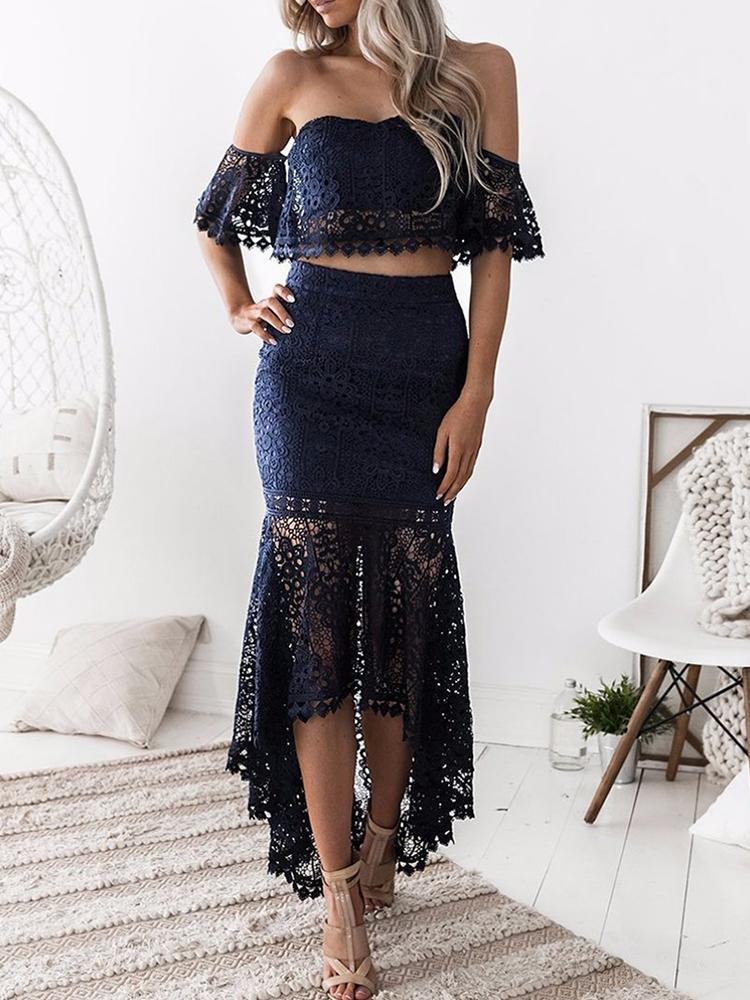 Hollow Out Lace Mermaid High-Low Hem Skirt Sets