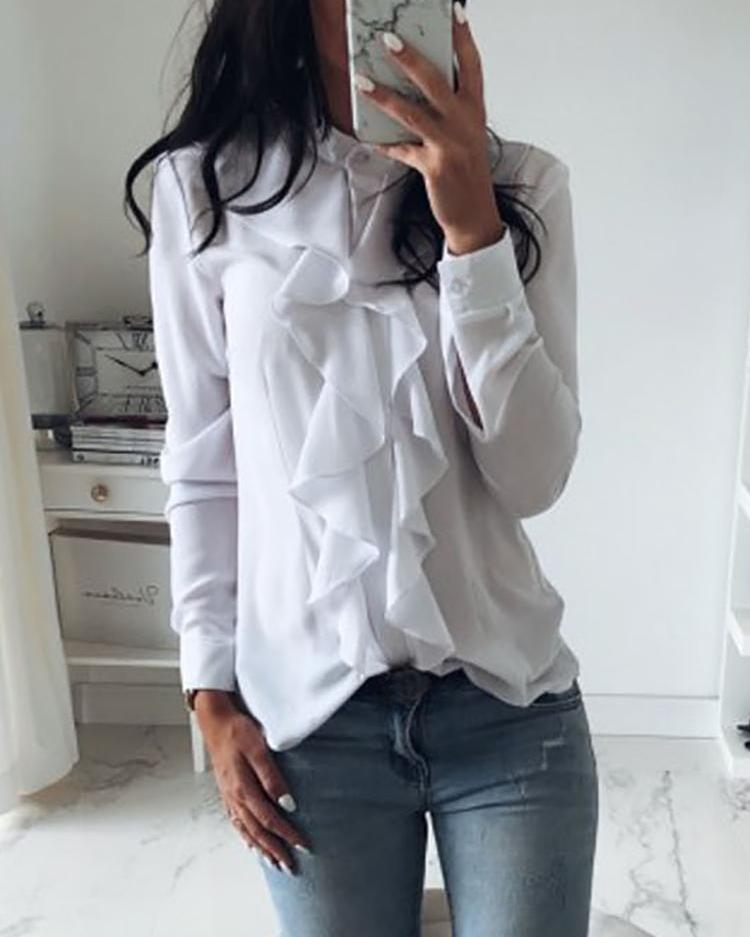 Solid Ruffles Design Long Sleeve Casual Blouse фото
