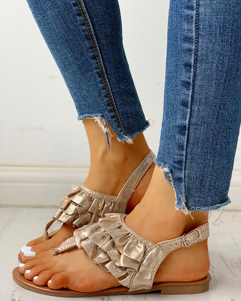 Toe Post Ruched Frill Hem Casual Sandals фото