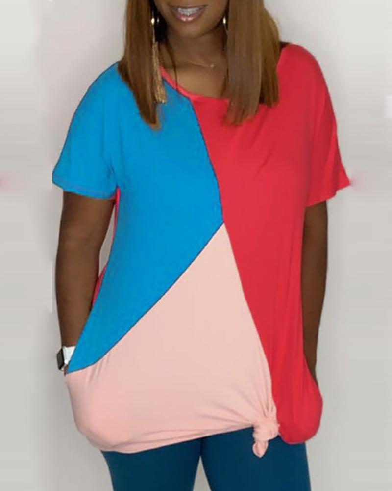 Colorblock Short Sleeve T-Shirt Dress фото