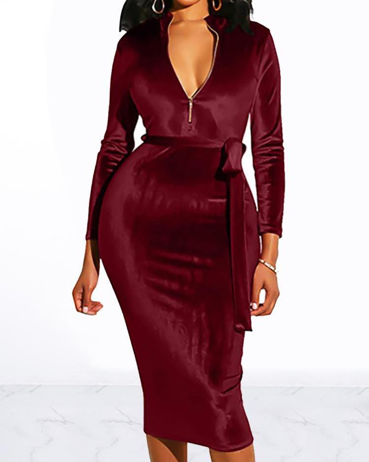 Zip Design Belted Velvet Dress