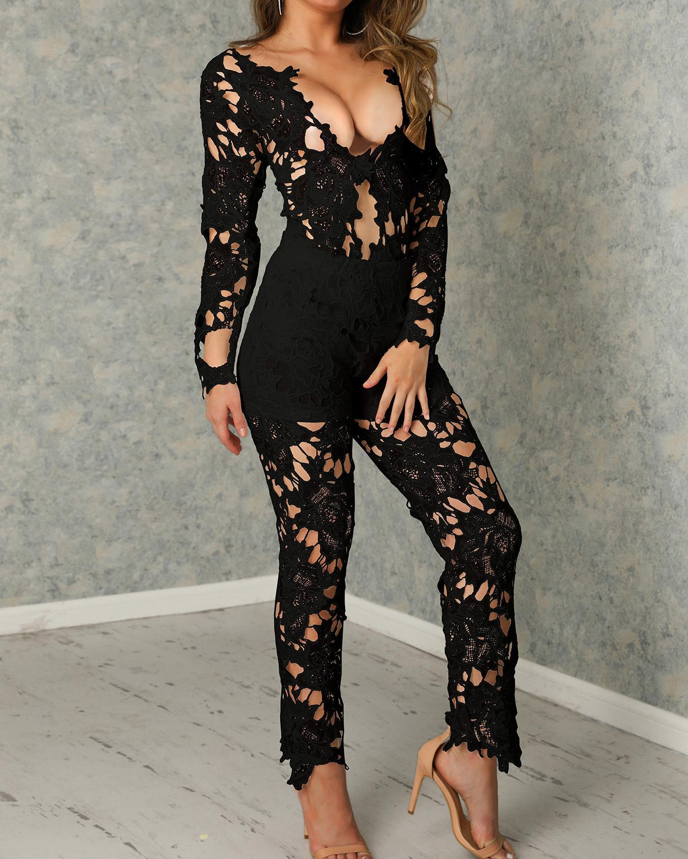Lace Crochet Open Front Blazer Pants Set фото