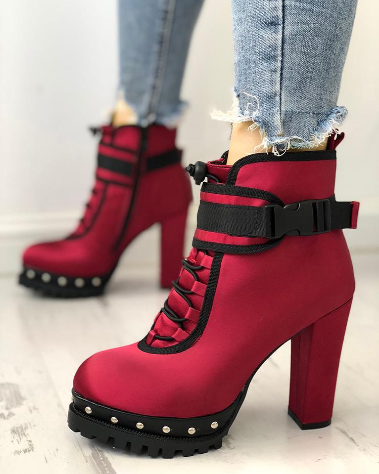 joyshoetique / Rivet Embellished Lace-Up Chunky Thin Boots
