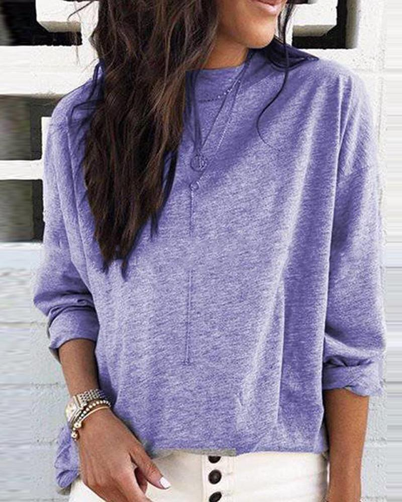 Round Neck Long Sleeve Casual Top фото