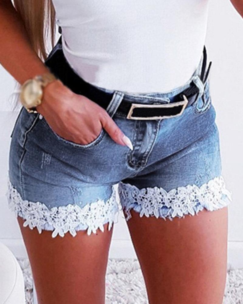 Lace Trim Denim Shorts фото
