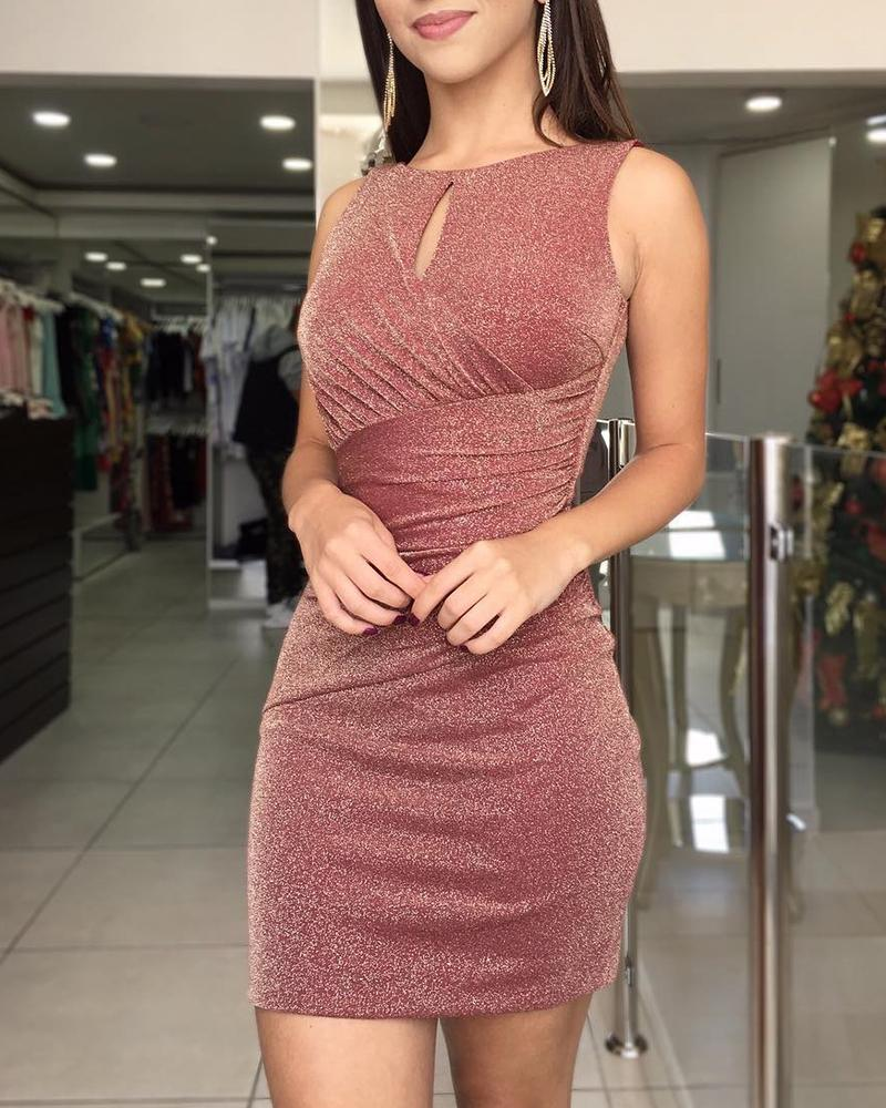 Sparkle Metallic Backless Ruched Bodycon Dress