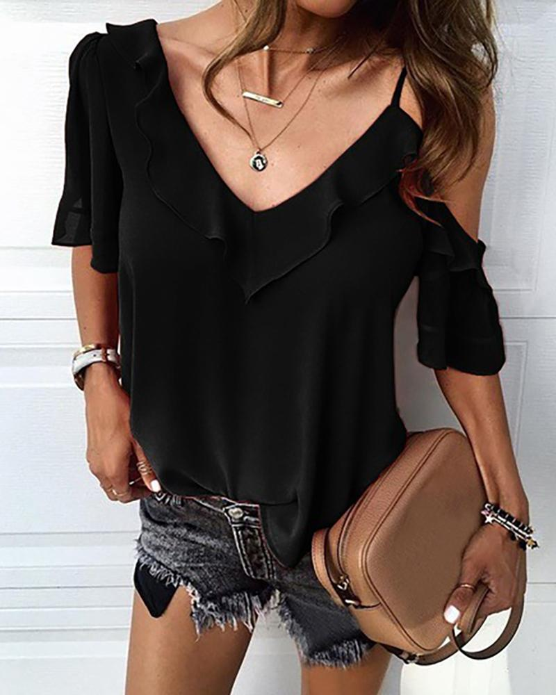V Neck Solid Ruffle Casual Blouse фото