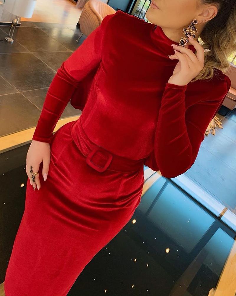 boutiquefeel / Vestido de cintura ajustada con cuello falso recortado