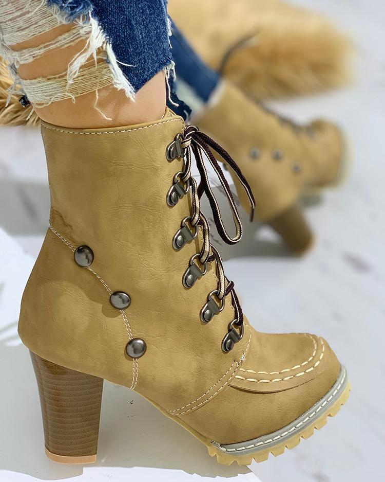 Rivet Lace-Up Eyelet Chunky Heeled Boots, Yellow