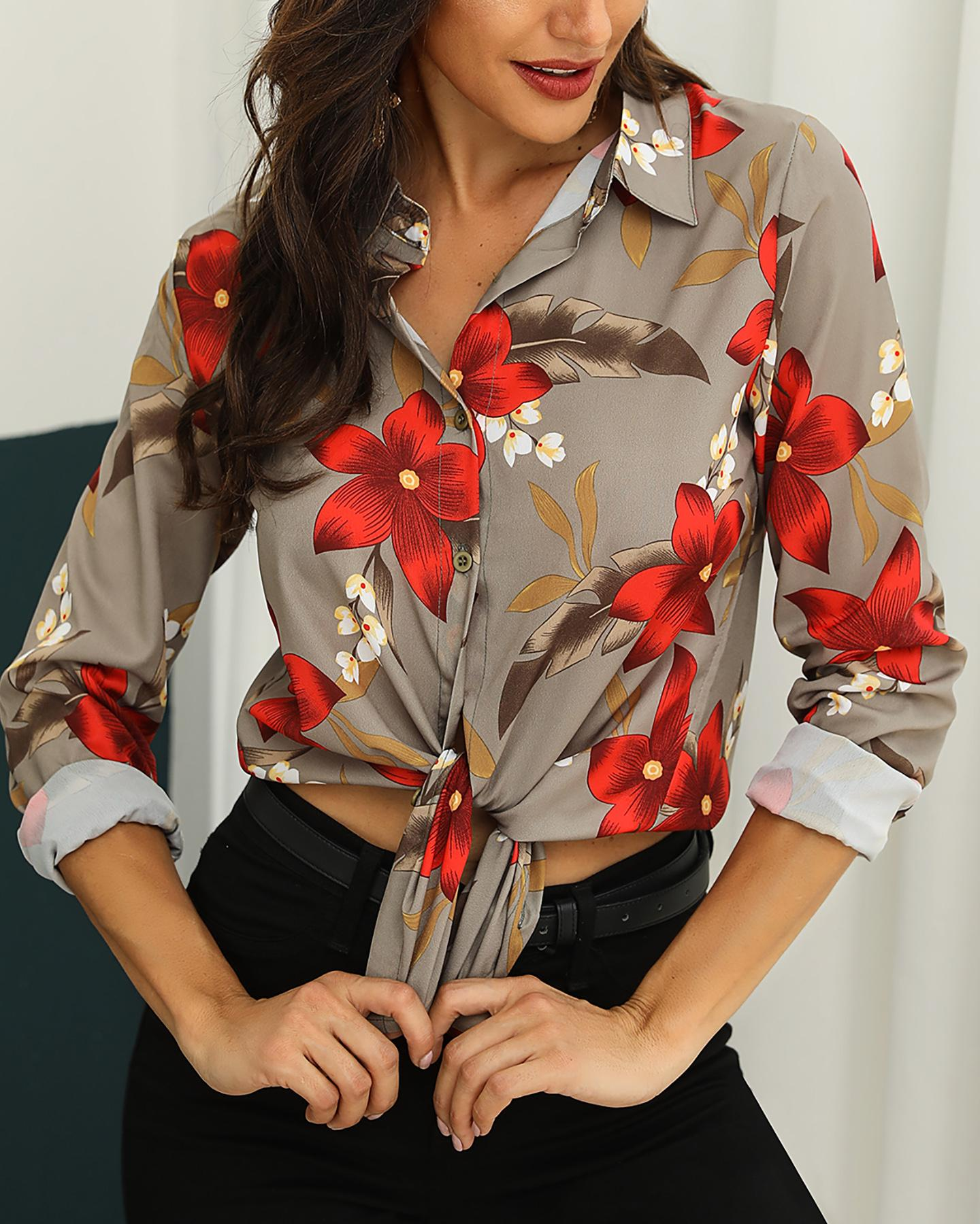 Knotted Front Floral Print Casual Shirt фото
