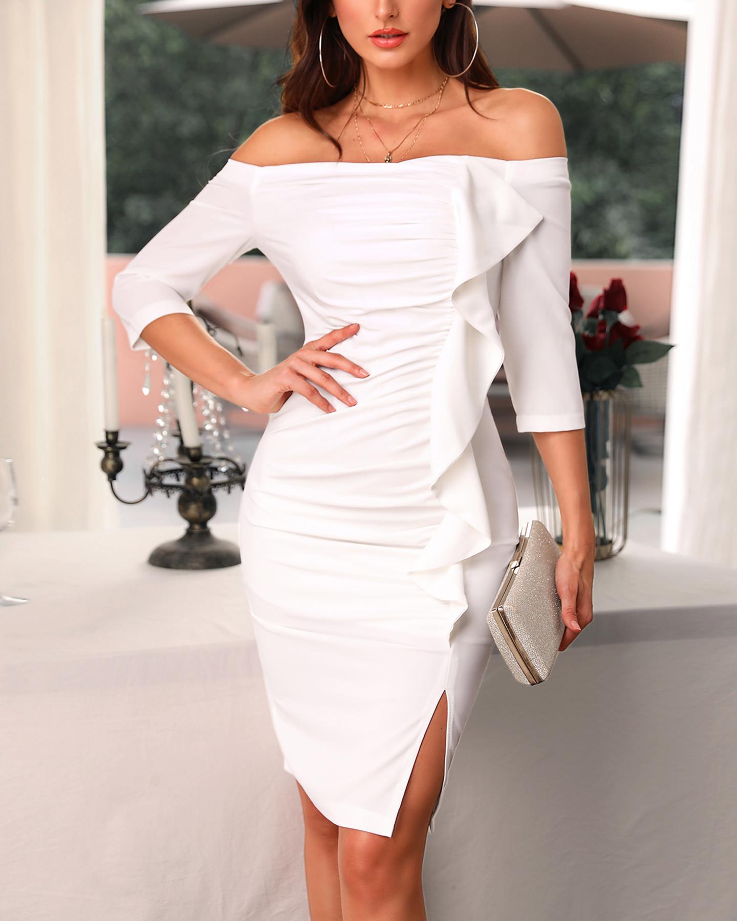boutiquefeel / Sólido Fora do ombro Slit Ruffled Midi Dress