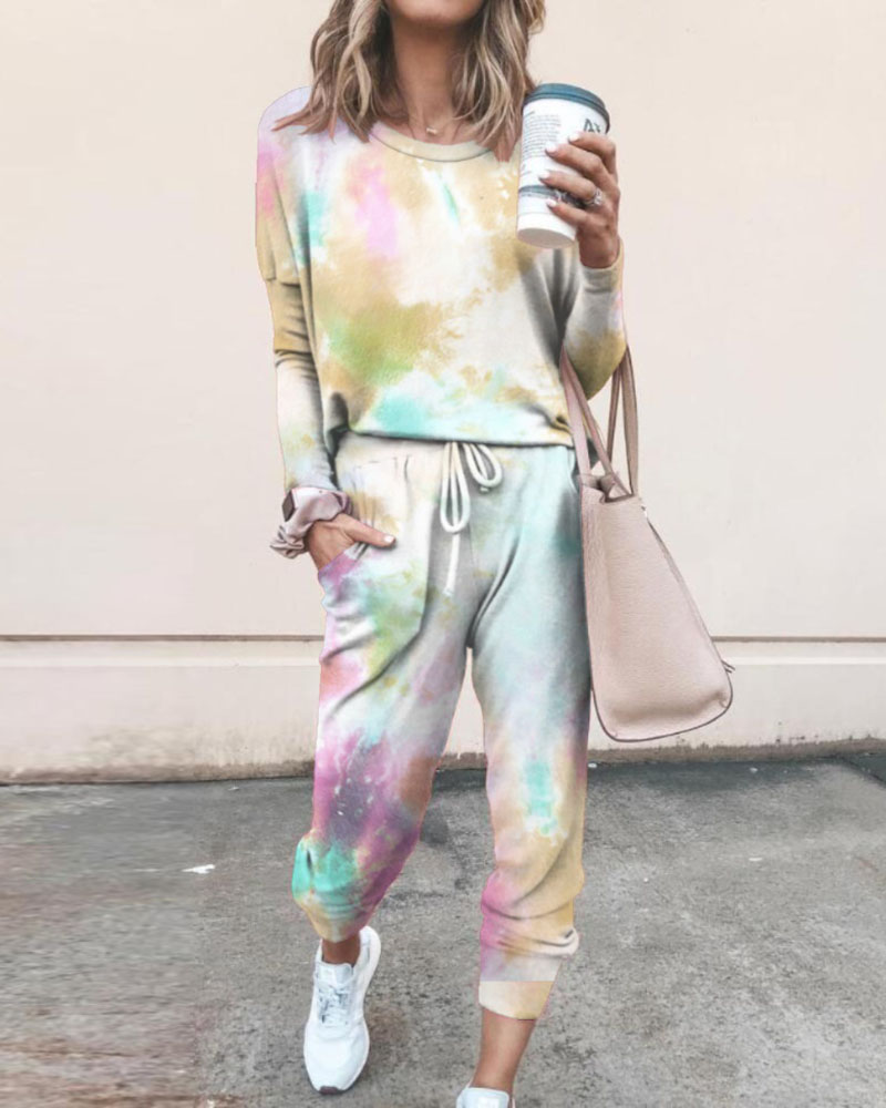 Tie Dye Print Top & Drawstring Pants Set фото
