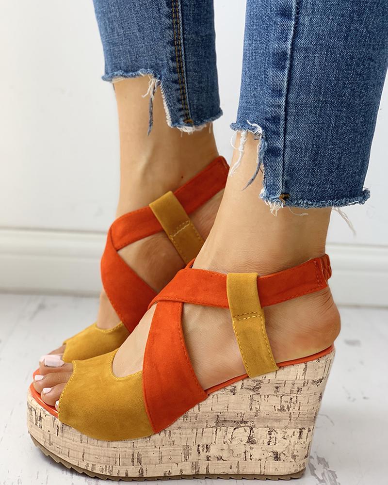 Peep Toe Colorblock Platform Wedge Sandals