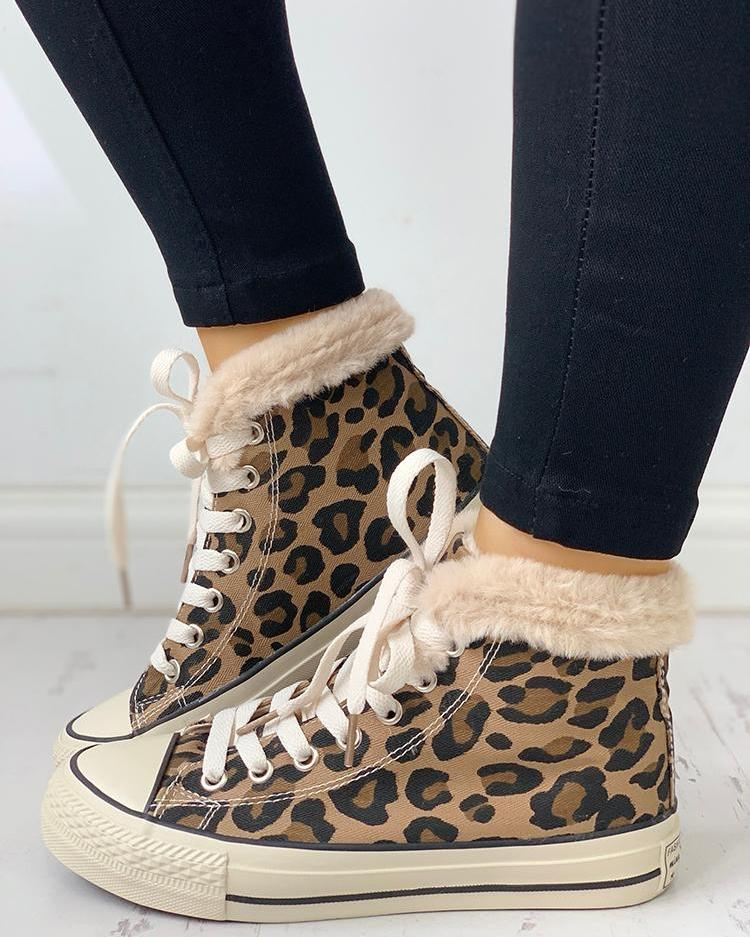 Fluffy Leopard Lace-Up Casual Sneakers