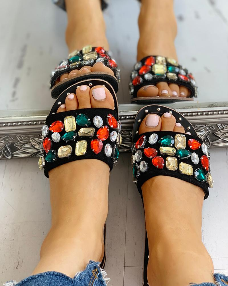 boutiquefeel / Open Toe Studded Design Flat Sandals