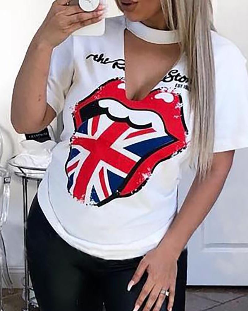 White Lip Print Short Sleeve T Shirts фото