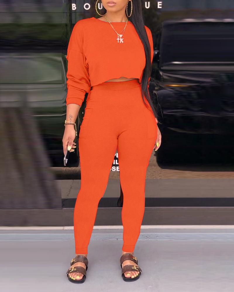 joyshoetique / Frill Hem Crop Top & Pocket Design Pants Sets