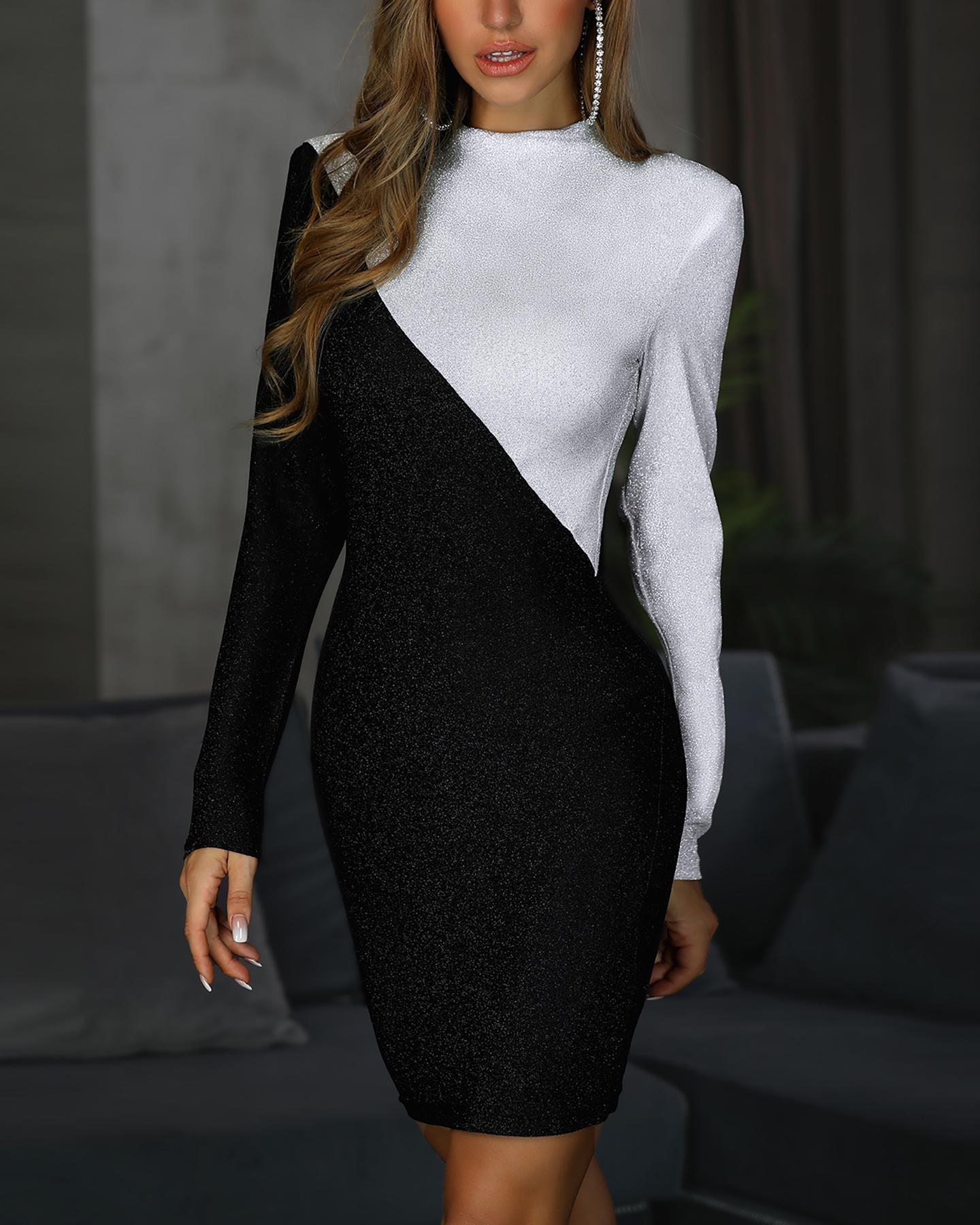 Glitter Two Tone Cut And Sew Bodycon Dress