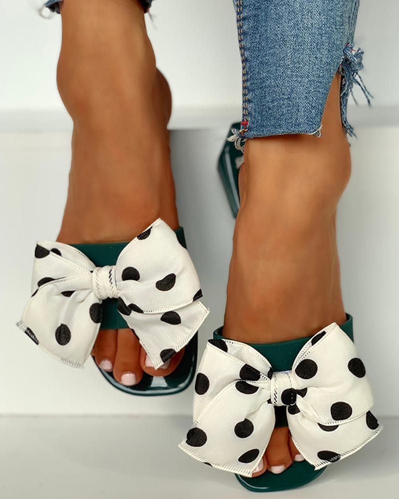 ivrose / Dot Bowknot Design sandálias planas de chinelo