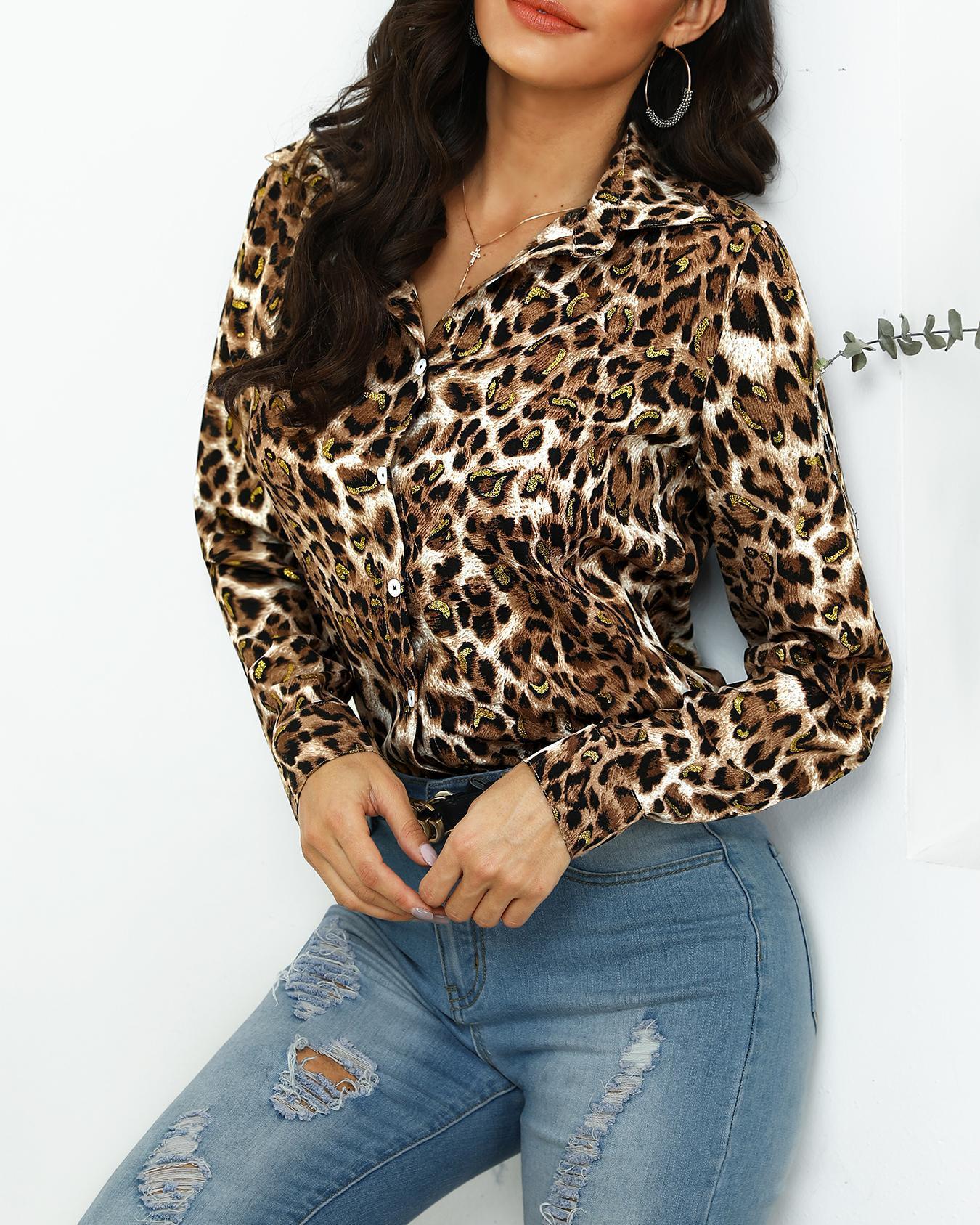 Leopard Print Button Through Casual Shirt фото