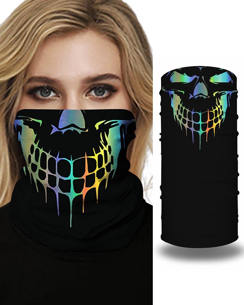Skull Print Face Bandana Magic Scarf Headwrap Balaclava, Multicolor