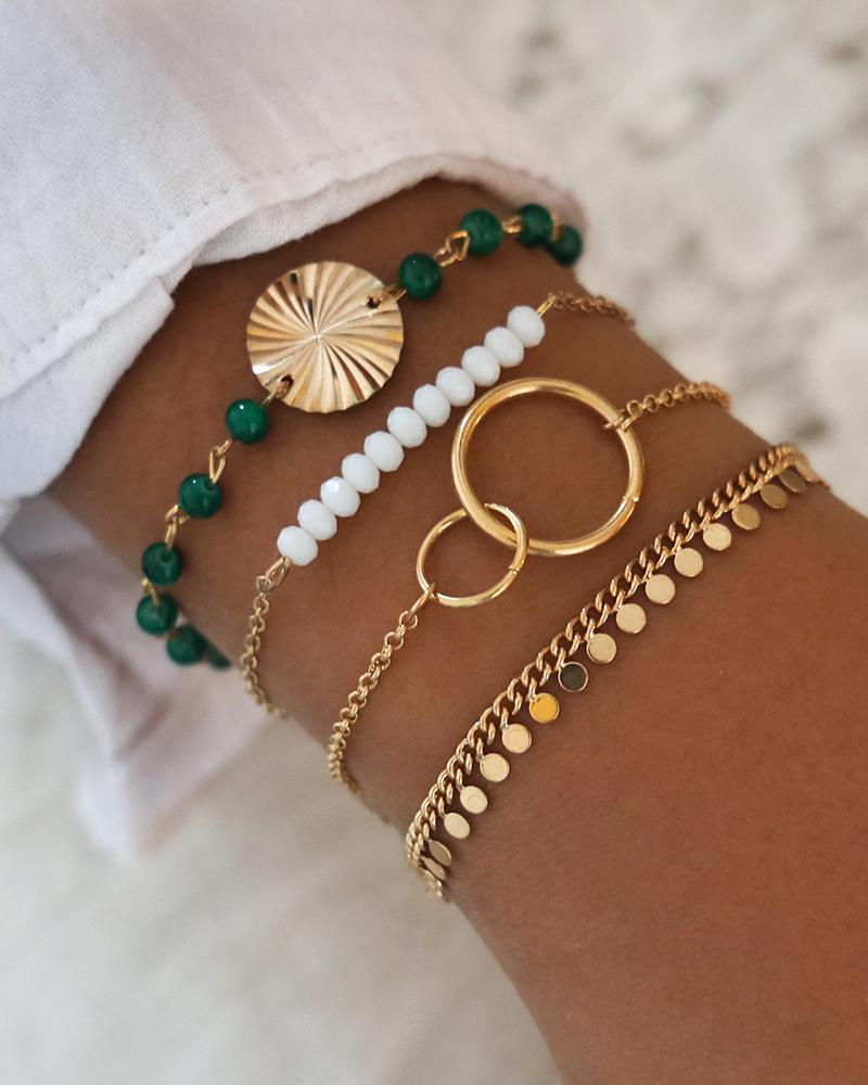 Beaded Sequins 4PCS Layered Bracelet фото