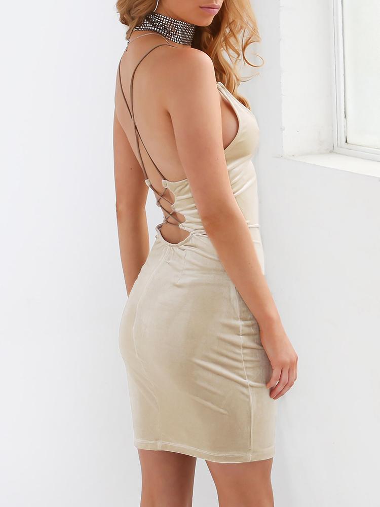 Stylish Lace-up Open Back Mini Slip Dress