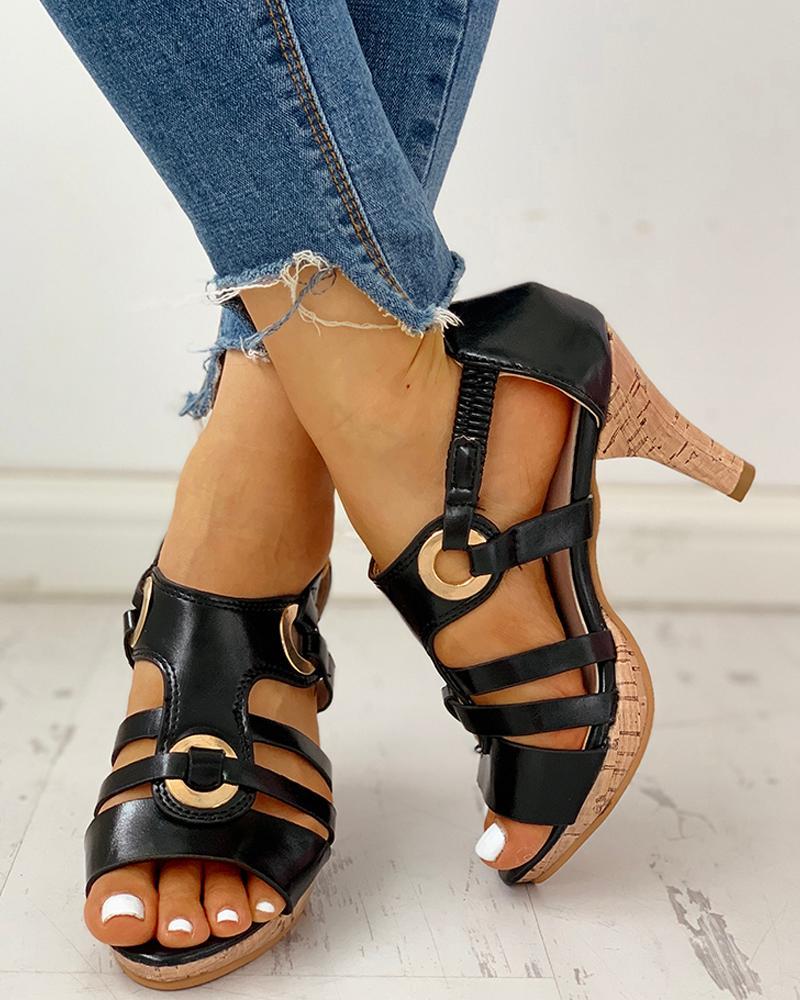 Eyelet Bandage Peep Toe Buckle Heeled Sandals