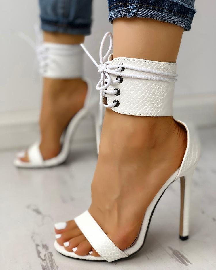 Cut Out Lace Up Thin Heels Sandals фото
