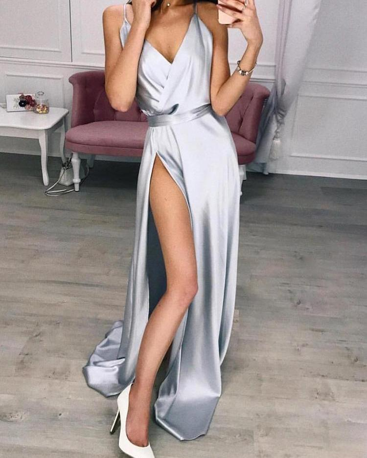 Solid Spaghetti Strap Slit Maxi Dress, Silver
