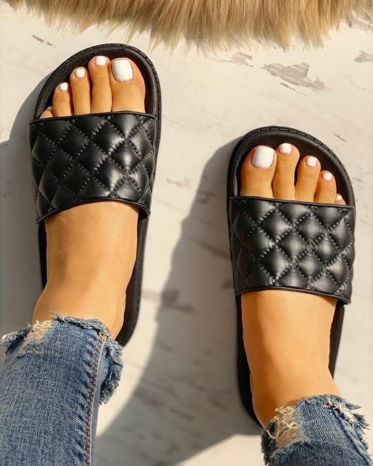 ivrose / Stitch Detail Open Toe Slippers
