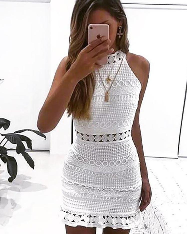 Halter Crochet Lace Ruffle Hem Mini Dress фото