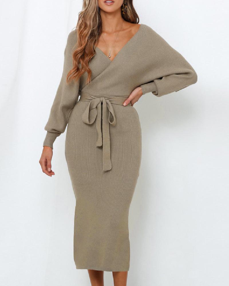 boutiquefeel / Vestido cruzado sin espalda con cuello en V