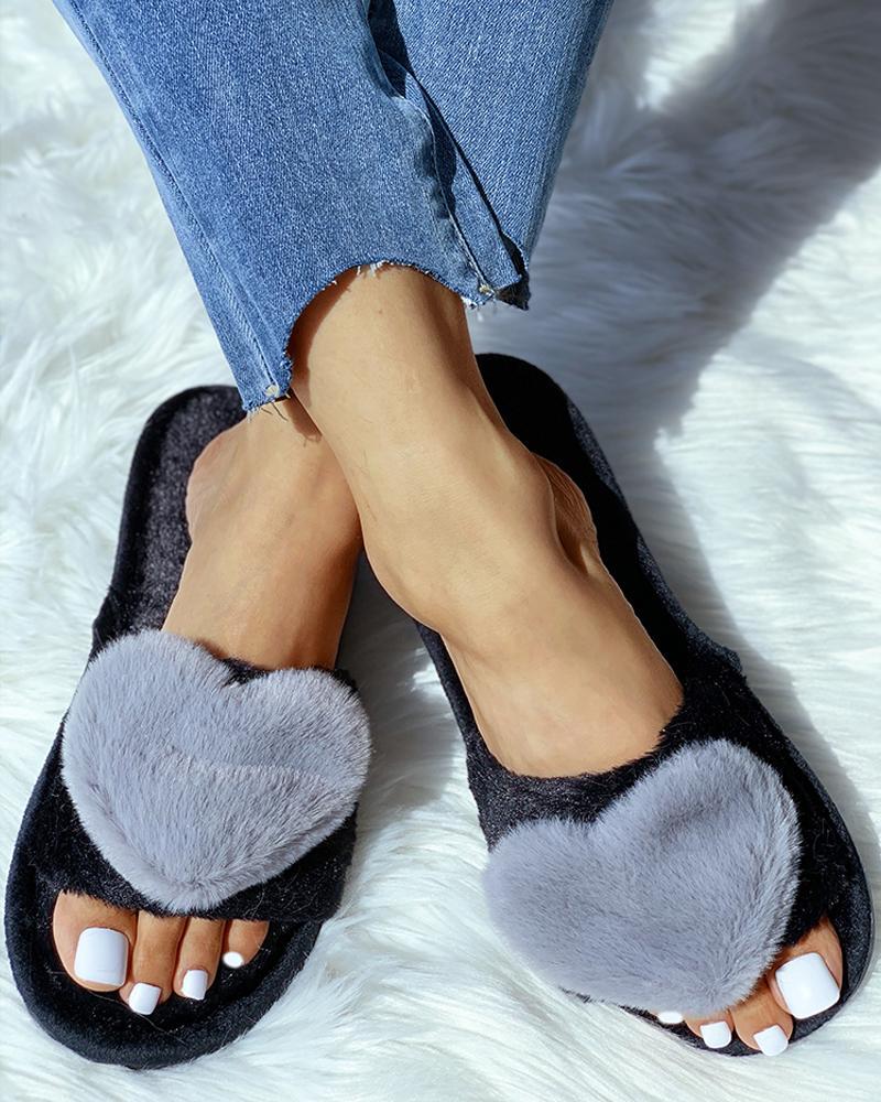 Open Toe Fluffy Heart Design Flat Slipper, Gray